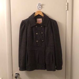 Black and Pink Double Breasted Peacoat - Size XL